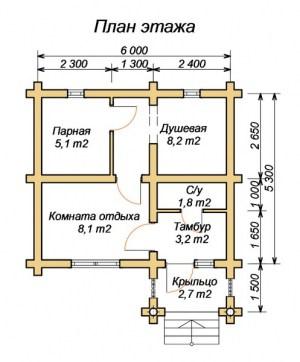 План этажа бани 5х6