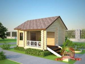 Эта уютная баня 5 х 5 (пять на пять) хорошо подойдет как для уже построенной дачи, так и как отдельное место отдыха