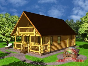 Дом из оцилиндрованного бревна 7.2х11.2 с террасой