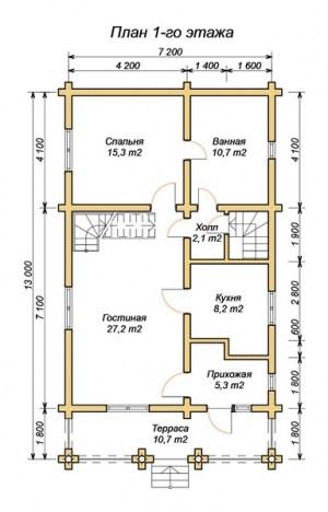 План 1 этажа проекта дома из оцилиндрованного бревна 7.2х11.2 с террасой