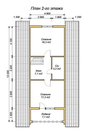 План 2 этажа проекта дома из оцилиндрованного бревна 7.2х11.2 с террасой