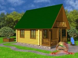 Дом из оцилиндрованного бревна 6х8 с балконом и террасой