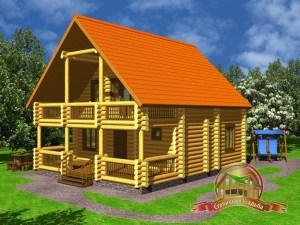 Сруб дома из оцилиндрованного бревна 8.5х10.5 с большой террасой