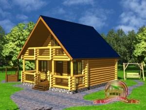 Дом из оцилиндрованного бревна 7.5х8.5 с террасой и вторым светом