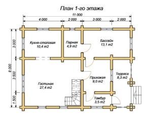 План 1 этажа проекта дома из ОЦБ 8х11 с тамбуром и бассейном