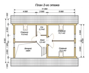 План 2 этажа проекта дома из ОЦБ 8х11 с тамбуром и бассейном