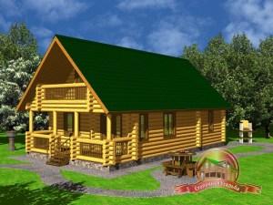 Дом из оцилиндрованного бревна 7.2х13 для узкого участка, двускатная крыша