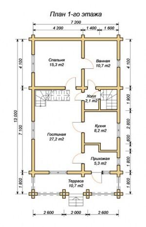 План 1 этажа проекта дома из оцилиндрованного бревна 7.2х13