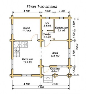 План 1 этажа дома из бревна 8х8