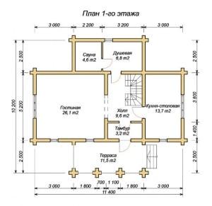 План 1 этажа проекта дома из оцилиндрованного бревна 10.2х11.4 с сауной, три фронтона