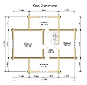 План 2 этажа проекта дома из оцилиндрованного бревна 10.2х11.4 с сауной, три фронтона