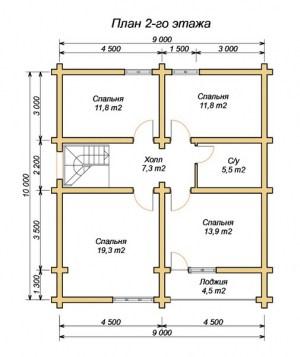 План 2 этажа дома из бревна 9х10