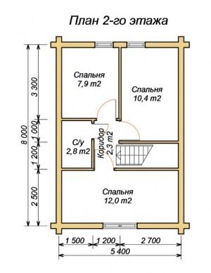 План 2 этажа проекта дома из оцилиндрованного бревна 7х10