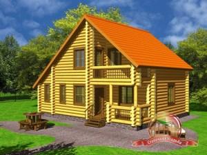 Дом из оцилиндрованного бревна 8х10 с котельной, двумя входами