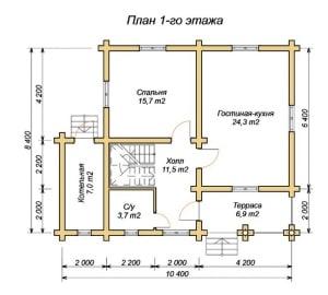 План 1 этажа проекта дома из оцилиндрованного бревна 8х10 с котельной, двумя входами