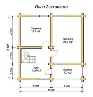 План 2 этажа проекта дома из оцилиндрованного бревна 8х10 с котельной, двумя входами
