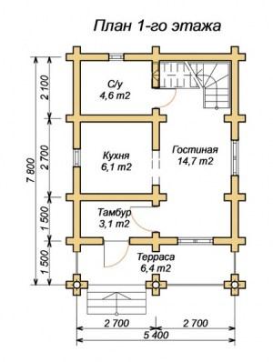 Планировка 1 этажа дома из ОЦБ с террасой и санузлом