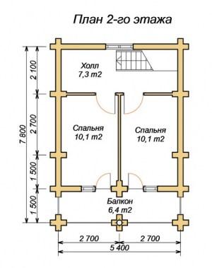 Планировка 2 этажа дома 5х7 из ОЦБ с террасой и санузлом