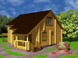 Дом из оцилиндрованного бревна 8.7х11.1 с тремя спальнями, со вторым светом