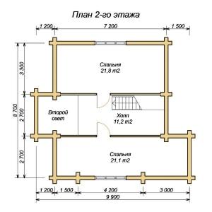 План 2 этажа проекта дома из оцилиндрованного бревна 8.7х11.1 с тремя спальнями и вторым светом
