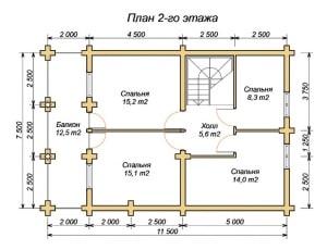 Планировка 2 этажа проекта дома из ОЦБ 11х11 с навесом (гаражом)
