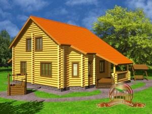 Дом из оцилиндрованного бревна 10х14 с террасой, вторым светом