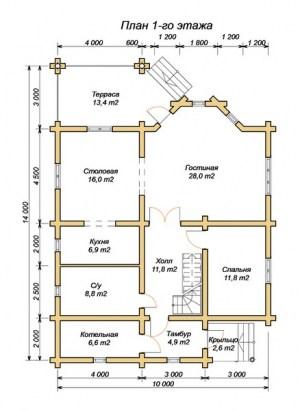 План 1 этажа проекта дома з оцилиндрованного бревна 10х14 с террасой, вторым светом