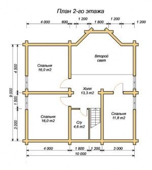 План 2 этажа проекта дома з оцилиндрованного бревна 10х14 с террасой, вторым светом