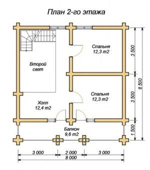 План 2 этажа проекта дома из оцилиндрованного бревна 8.5х8 с баней и вторым светом
