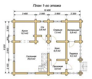 План 1 этажа дома из оцилиндрованного бревна 8х10 с четырьмя спальнями