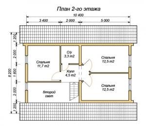 План 2 этажа дома из оцилиндрованного бревна 8х10 с четырьмя спальнями