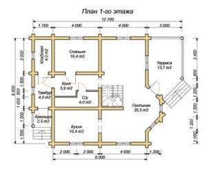 План 1 этажа дома из бревна 9х12