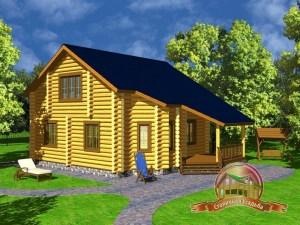 Дом из оцилиндрованного бревна 9х12.7 с большой гостиной