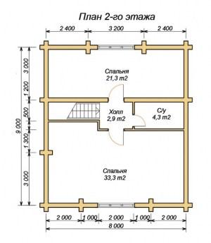 Планировка дома из оцилиндрованного бревна 9х12.7 с большой гостиной