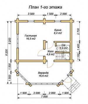 План 1 этажа дома из оцилиндрованного бревна 7х8.2 с верандой
