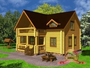 Проект дома из оцилиндрованного бревна 9х12 с балконом, проект