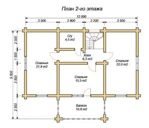 План-проект 2 этажа дома из оцилиндрованного бревна 9х12 с балконом