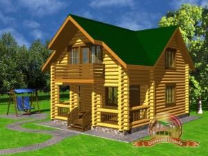Дом из оцилиндрованного бревна 6.6х9.6 с ломаной крышей