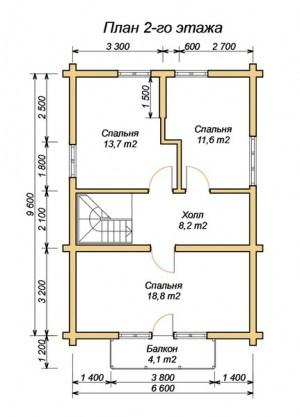 План 2 этажа проекта дома из ОЦБ 6.6х9.6 с ломаной крышей