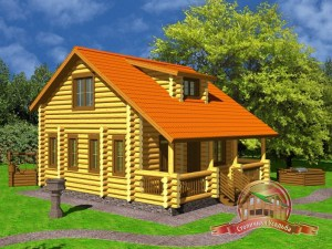 Дом из оцилиндрованного бревна 7.9х8.6 в 2 этажа, проект