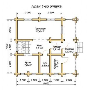 План проекта 1 этажа дома из оцилиндрованного бревна 7.9х8.6 в 2 этажа