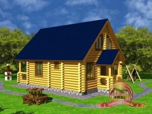 Дом из оцилиндрованного бревна 7х11 с крыльцом, проект сруба