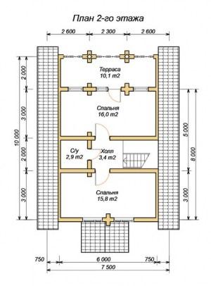 Планировка 2 этажа проекта сруба из ОЦБ 7х11 с крыльцом
