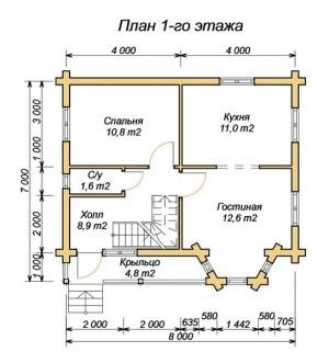 План 1 этажа проекта дома из оцилиндрованного бревна 7х8 с эркером и крыльцом
