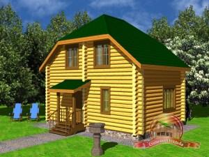 Дом из оцилиндрованного бревна 6х8 с ломанной крышей и туалетом
