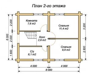 План 2 этажа проекта дома из оцилиндрованного бревна 6х8 с ломанной крышей и туалетом