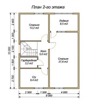 План 2 этажа проекта дома из бруса 8 на 10