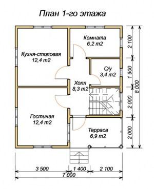План 1 этажа брусовго дома 7х8