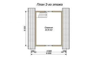 План 2 этажа дома из бруса 6х6