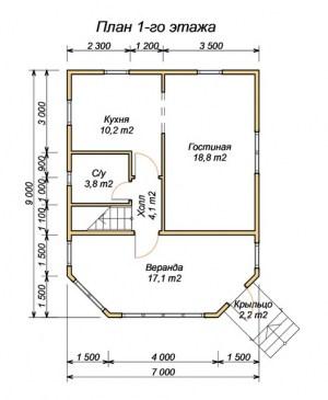 План 1 этажа дома из бруса 7 х 9
